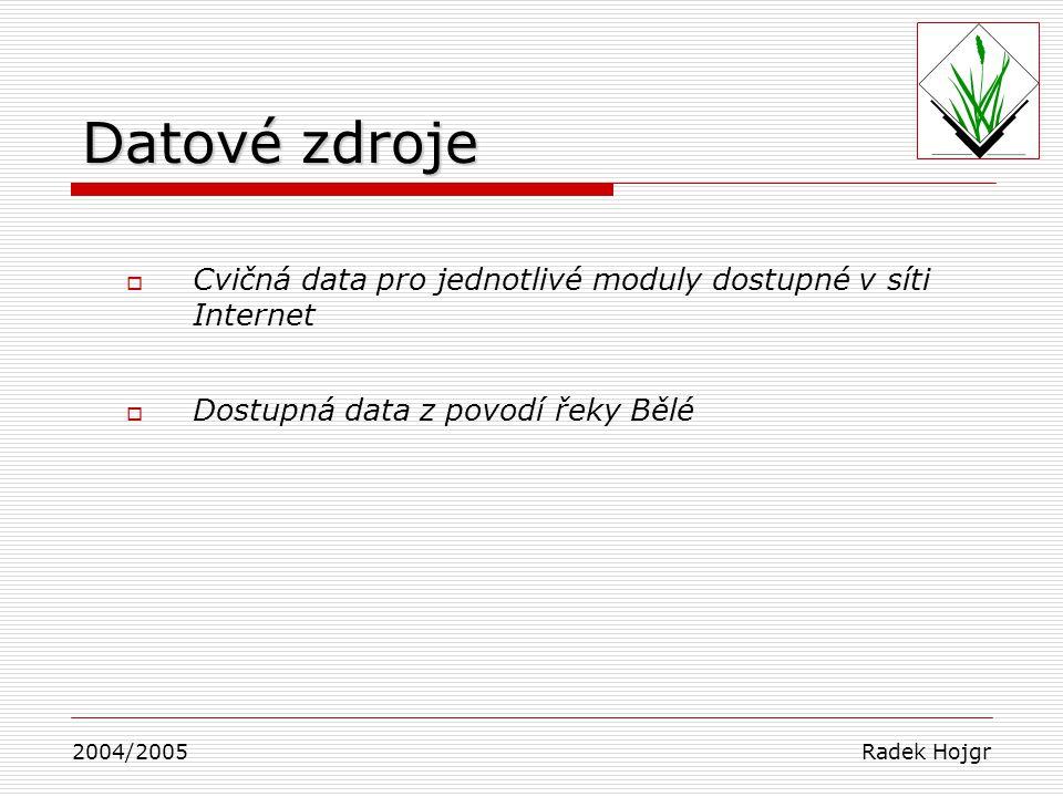 Datové zdroje  Cvičná data pro jednotlivé moduly dostupné v síti Internet  Dostupná data z povodí řeky Bělé 2004/2005 Radek Hojgr