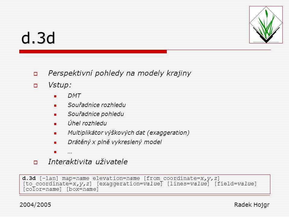 Perspektivní pohledy na modely krajiny  Vstup: DMT Souřadnice rozhledu Souřadnice pohledu Úhel rozhledu Multiplikátor výškových dat (exaggeration) Drátěný x plně vykreslený model …  Interaktivita uživatele 2004/2005 Radek Hojgr d.3d [-lan] map=name elevation=name [from_coordinate=x,y,z] [to_coordinate=x,y,z] [exaggeration=value] [lines=value] [field=value] [color=name] [box=name]d.3d