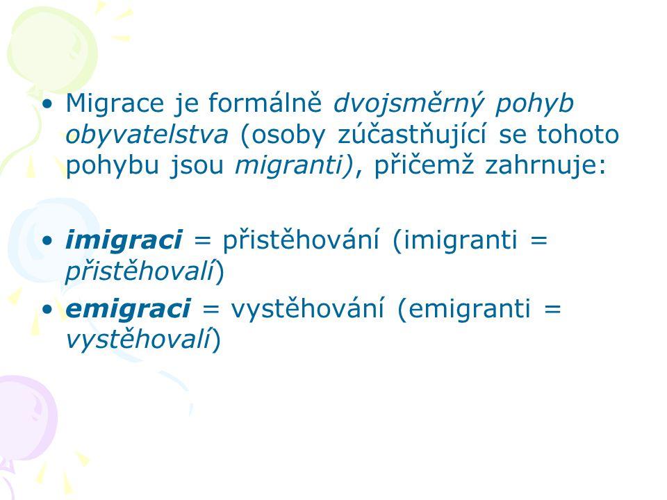 Migrace je formálně dvojsměrný pohyb obyvatelstva (osoby zúčastňující se tohoto pohybu jsou migranti), přičemž zahrnuje: imigraci = přistěhování (imig