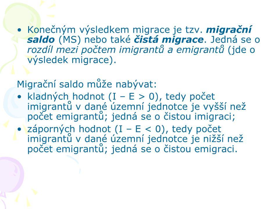 Konečným výsledkem migrace je tzv. migrační saldo (MS) nebo také čistá migrace. Jedná se o rozdíl mezi počtem imigrantů a emigrantů (jde o výsledek mi