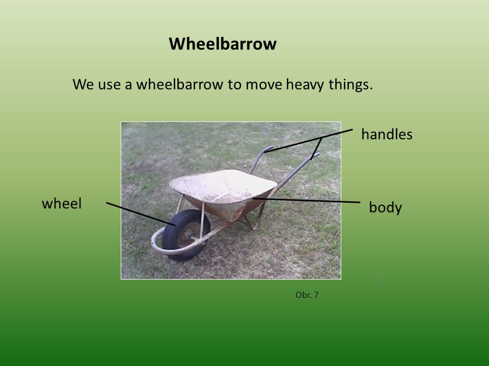 Wheelbarrow Obr. 7 We use a wheelbarrow to move heavy things. handles body wheel