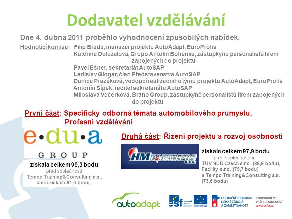 Dodavatel vzdělávání Dne 4. dubna 2011 proběhlo vyhodnocení způsobilých nabídek. Hodnotící komise: Filip Brada, manažer projektu AutoAdapt, EuroProfis
