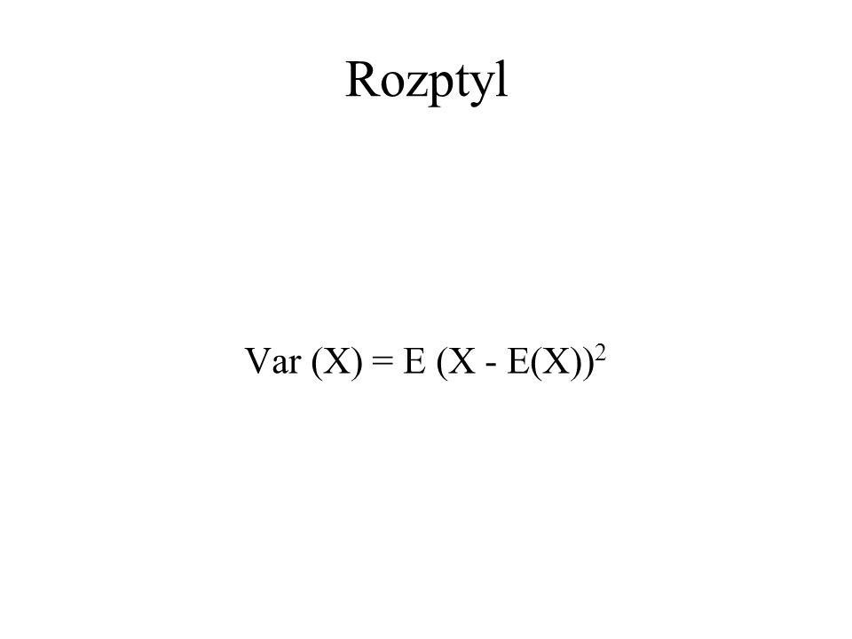 Rozptyl Var (X) = E (X - E(X)) 2