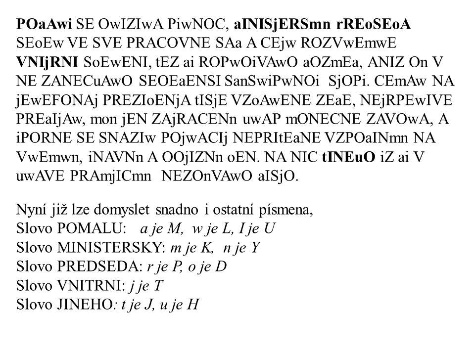 Indexy koincidence vybraných jazyků Čeština 0,0577 Slovenština 0,0581 Angličtina 0,0676 Francouzština 0,0801 Němčina 0,0824 Italština 0,0754 Španělština 0,0769 Ruština 0,0470 Náhodný text 0,0385