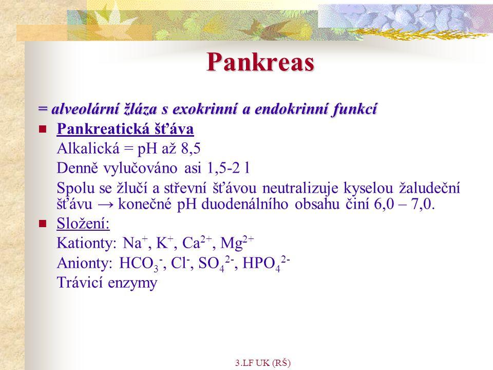 3.LF UK (RŠ) = alveolární žláza s exokrinní a endokrinní funkcí Pankreatická šťáva Alkalická = pH až 8,5 Denně vylučováno asi 1,5-2 l Spolu se žlučí a střevní šťávou neutralizuje kyselou žaludeční šťávu → konečné pH duodenálního obsahu činí 6,0 – 7,0.