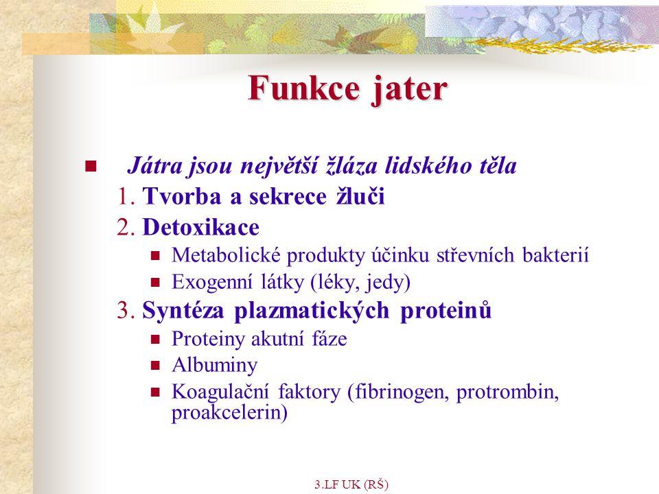 3.LF UK (RŠ) Ikterus (žloutenka) Detekovatelná když hladina plasmatického bilirubinu > 2 mg/dl (34  mol/l) Důvody vzniku: Nadprodukce bilirubinu (hemolytická anémie) Snížené vychytávání bilirubinu jaterními buňkami Porucha intracelulární vazby na bílkovinu nebo porucha konjugace Porucha sekrece konjugovaného bilirubinu do žlučových kanálků Obstrukce intrahepatálních či extrahepatálních žlučových cest Nekonjugovaný ikterus = příčiny 1-3 (vzestup volného bilirubinu) Konjugovaný ikterus = příčiny 4 nebo 5 (bilirubinglukuronid regurgituje zpět do krve)