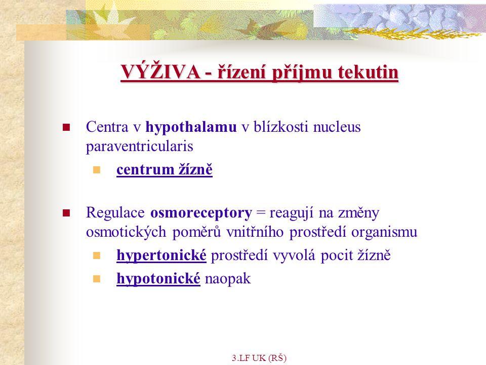 3.LF UK (RŠ) VÝŽIVA - řízení příjmu tekutin Centra v hypothalamu v blízkosti nucleus paraventricularis centrum žízně Regulace osmoreceptory = reagují na změny osmotických poměrů vnitřního prostředí organismu hypertonické prostředí vyvolá pocit žízně hypotonické naopak