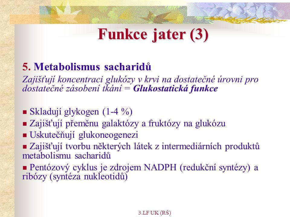 3.LF UK (RŠ) Trávicí enzymy Enzym (Proenzym) AktivátorSubstrát Katalyzovaná funkce nebo produkt Trypsin (Trypsinogen)Enteropeptidasa Proteiny a polypeptidy Štěpí peptidické vazby přilehlé k argininu a lysinu Chymotrypsiny (Chymotrypsinogeny) Trypsin Proteiny a polypeptidy Štěpí peptidické vazby přilehlé k argininu a lysinu Elastasa (Proelastasa)Trypsin Elastin a jiné proteiny Štěpí vazby vedle alifatických aminokyselin Karboxypeptidasa A (Prokarboxypeptidasa A) Trypsin Proteiny a polypeptidy Odštěpuje aminokyseliny z karboxylového konce, které mají aromatický či rozvětvený alifatický postranní řetězec Karboxypeptidasa B (Prokarboxypeptidasa B ) Trypsin Proteiny a polypeptidy Odštěpuje aminokyseliny z karboxylového konce, které mají bazický postranní řetězec