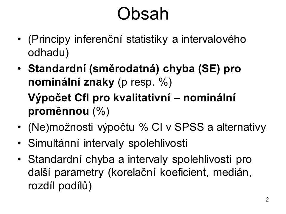 2 Obsah (Principy inferenční statistiky a intervalového odhadu) Standardní (směrodatná) chyba (SE) pro nominální znaky (p resp. %) Výpočet CfI pro kva