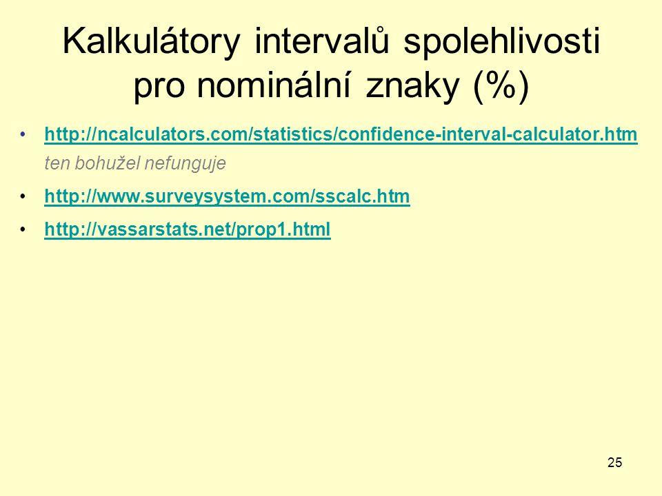 25 Kalkulátory intervalů spolehlivosti pro nominální znaky (%) http://ncalculators.com/statistics/confidence-interval-calculator.htm ten bohužel nefun