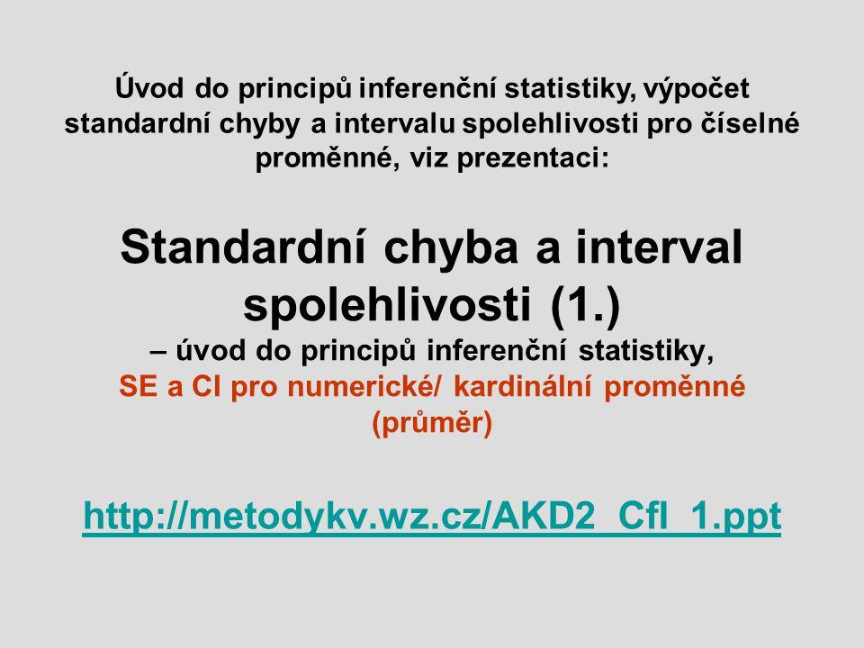 Standardní chyba a interval spolehlivosti (1.) – úvod do principů inferenční statistiky, SE a CI pro numerické/ kardinální proměnné (průměr) http://me