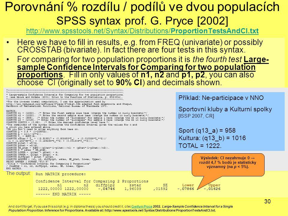 30 Porovnání % rozdílu / podílů ve dvou populacích SPSS syntax prof. G. Pryce [2002] http://www.spsstools.net/Syntax/Distributions/ProportionTestsAndC