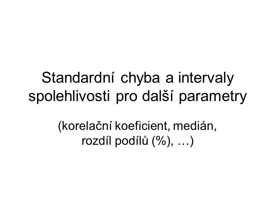 Standardní chyba a intervaly spolehlivosti pro další parametry (korelační koeficient, medián, rozdíl podílů (%), …)