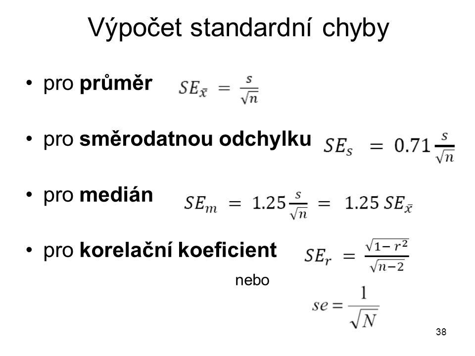 38 Výpočet standardní chyby pro průměr pro směrodatnou odchylku pro medián pro korelační koeficient nebo