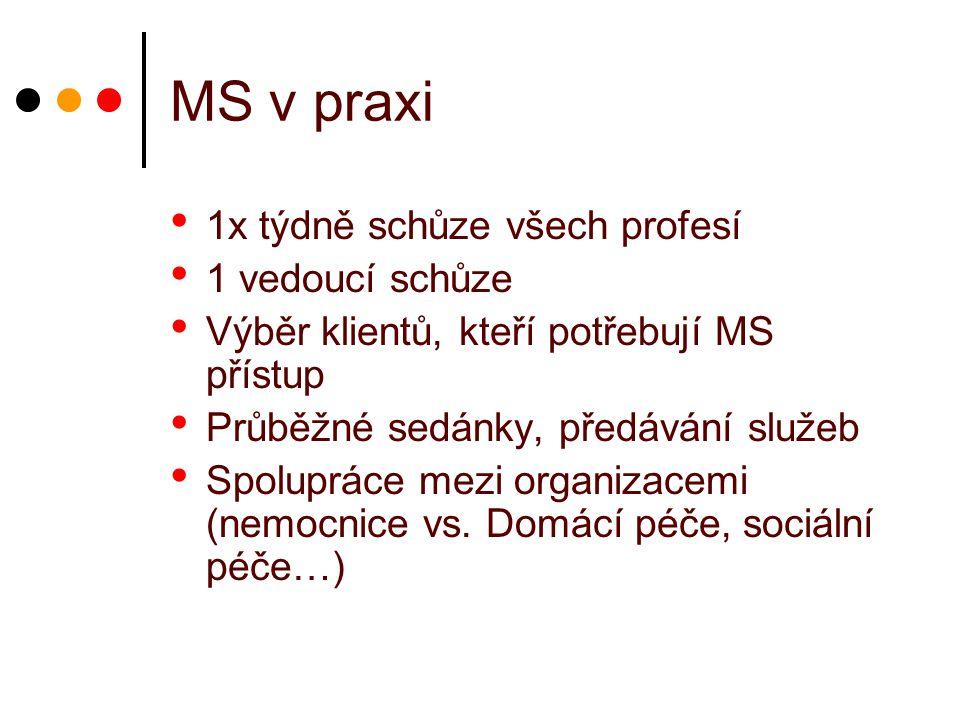 MS v praxi 1x týdně schůze všech profesí 1 vedoucí schůze Výběr klientů, kteří potřebují MS přístup Průběžné sedánky, předávání služeb Spolupráce mezi