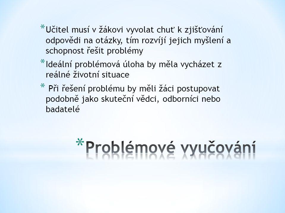 * Učitel musí v žákovi vyvolat chuť k zjišťování odpovědi na otázky, tím rozvíjí jejich myšlení a schopnost řešit problémy * Ideální problémová úloha