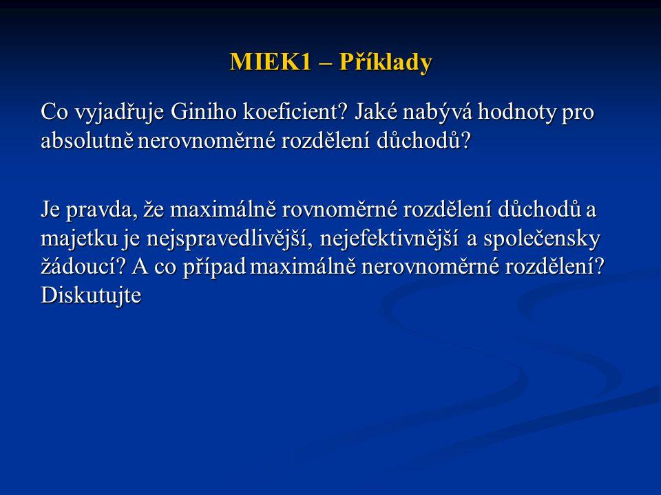 MIEK1 – Příklady Co vyjadřuje Giniho koeficient.
