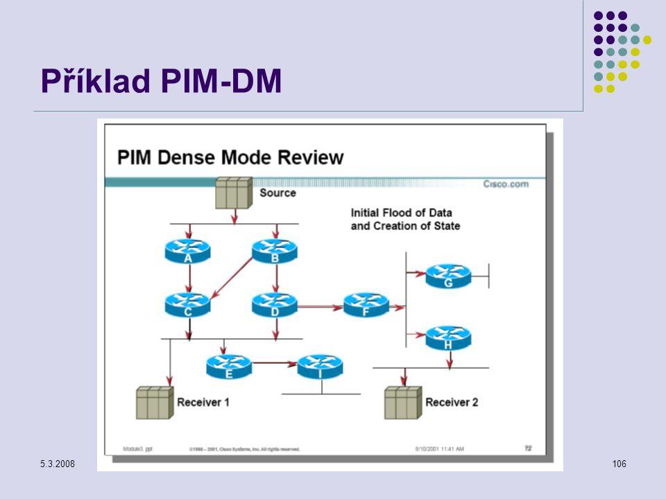 5.3.2008Počítačové sítě106 Příklad PIM-DM