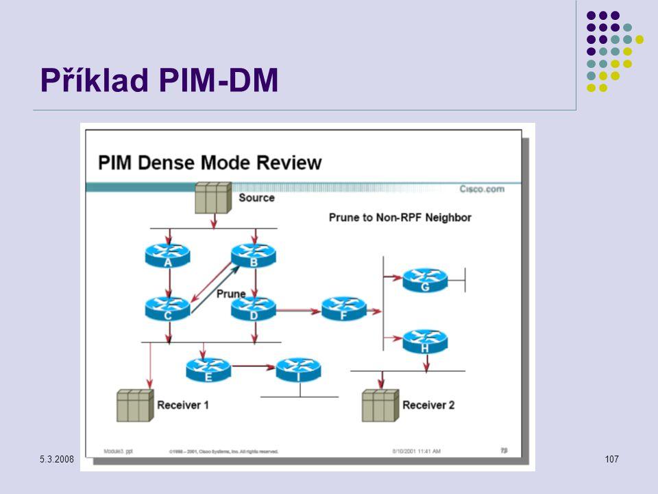 5.3.2008Počítačové sítě107 Příklad PIM-DM