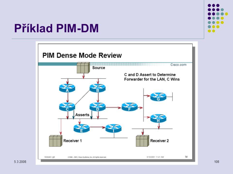 5.3.2008Počítačové sítě108 Příklad PIM-DM