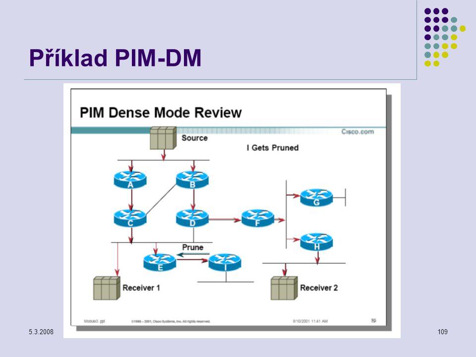 5.3.2008Počítačové sítě109 Příklad PIM-DM