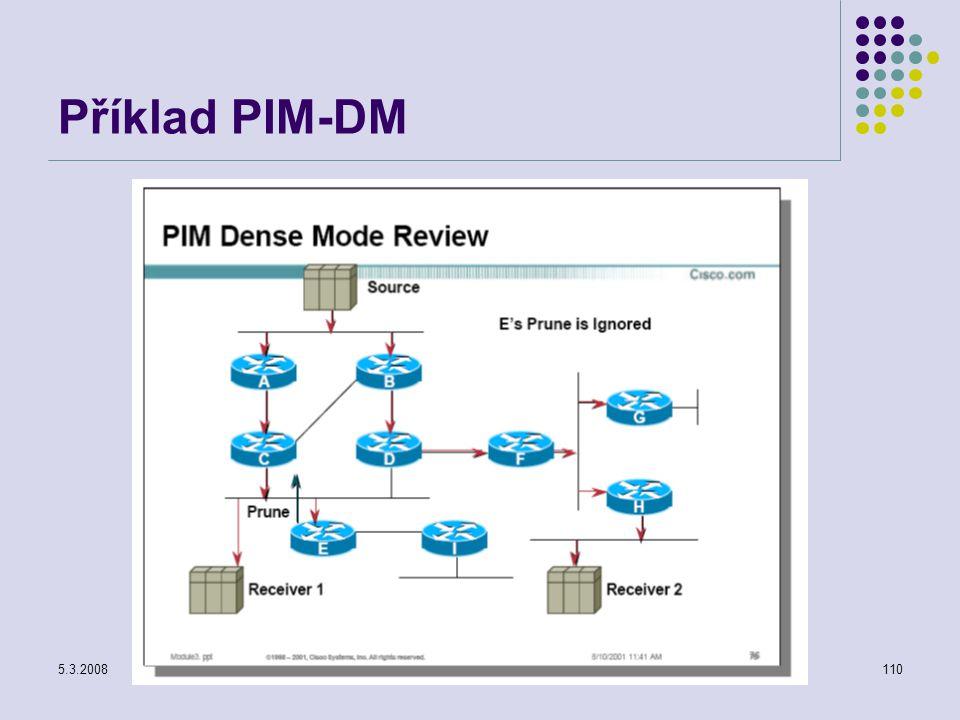 5.3.2008Počítačové sítě110 Příklad PIM-DM