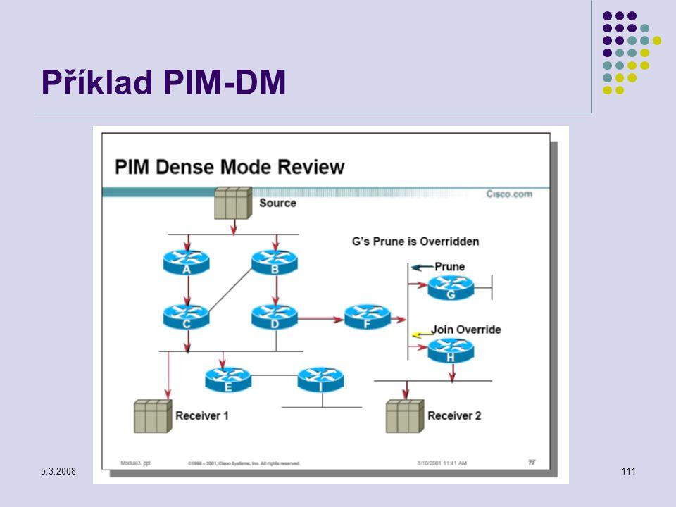 5.3.2008Počítačové sítě111 Příklad PIM-DM