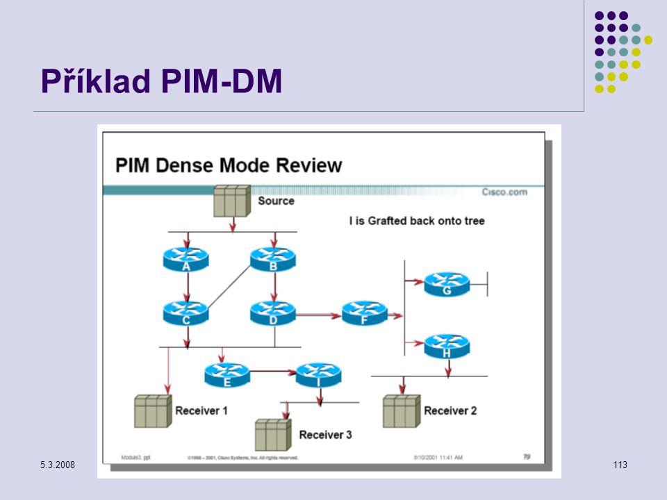 5.3.2008Počítačové sítě113 Příklad PIM-DM