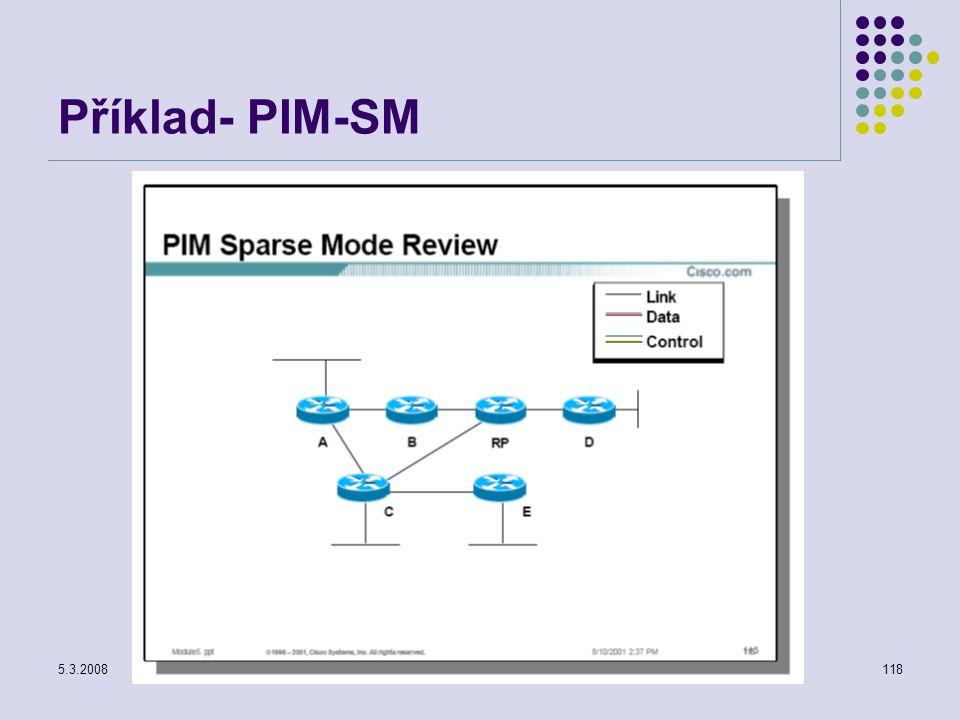 5.3.2008Počítačové sítě118 Příklad- PIM-SM
