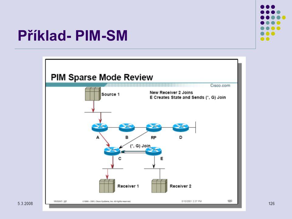 5.3.2008Počítačové sítě126 Příklad- PIM-SM