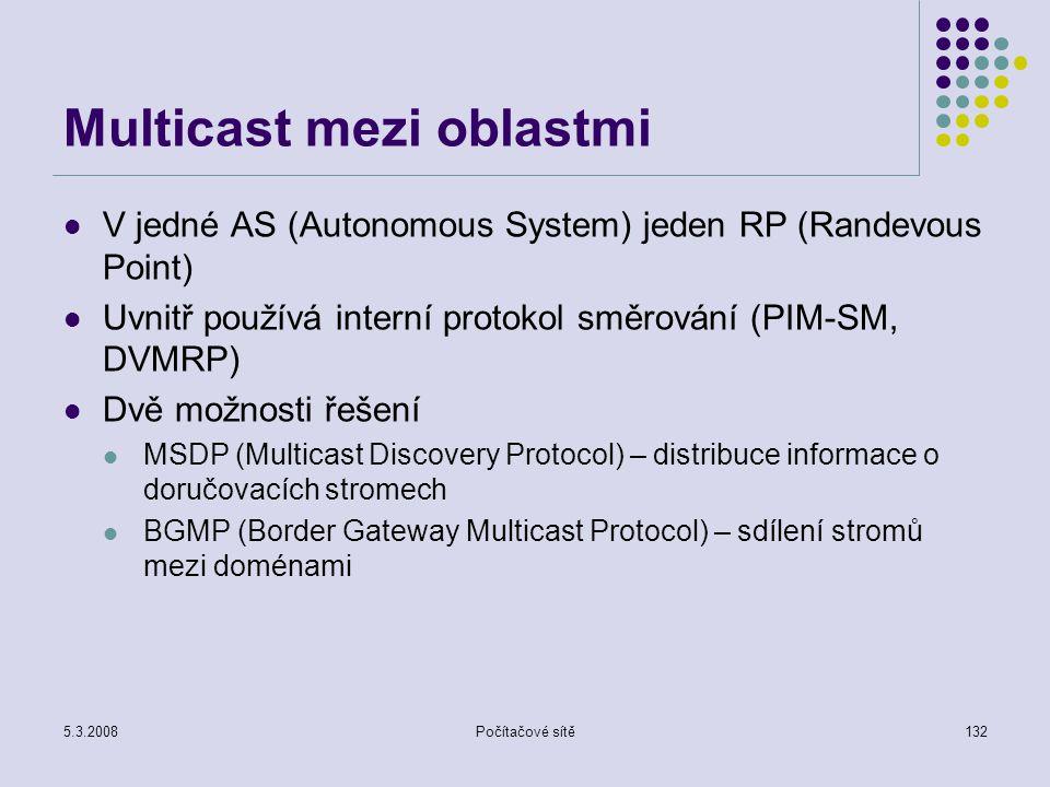 5.3.2008Počítačové sítě132 Multicast mezi oblastmi V jedné AS (Autonomous System) jeden RP (Randevous Point) Uvnitř používá interní protokol směrování