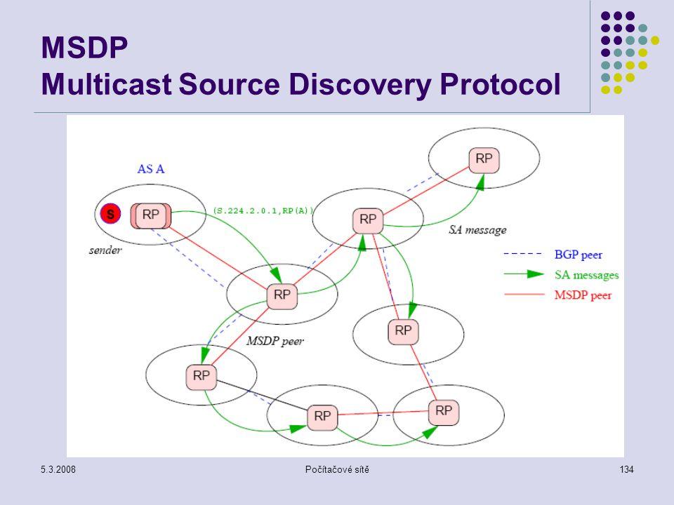 5.3.2008Počítačové sítě134 MSDP Multicast Source Discovery Protocol