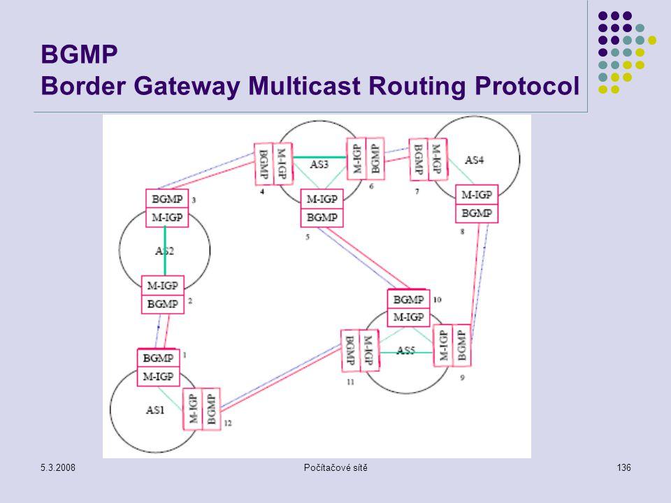 5.3.2008Počítačové sítě136 BGMP Border Gateway Multicast Routing Protocol