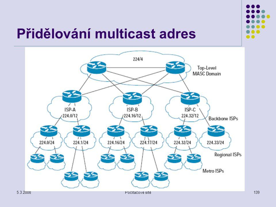 5.3.2008Počítačové sítě139 Přidělování multicast adres