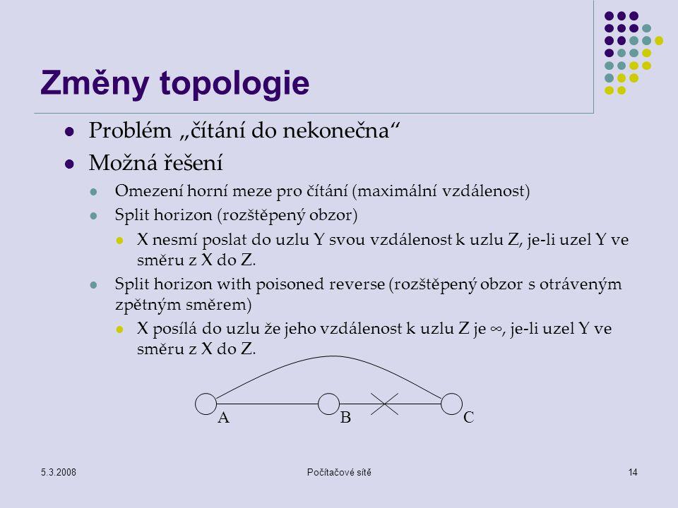 """5.3.2008Počítačové sítě14 Změny topologie Problém """"čítání do nekonečna"""" Možná řešení Omezení horní meze pro čítání (maximální vzdálenost) Split horizo"""