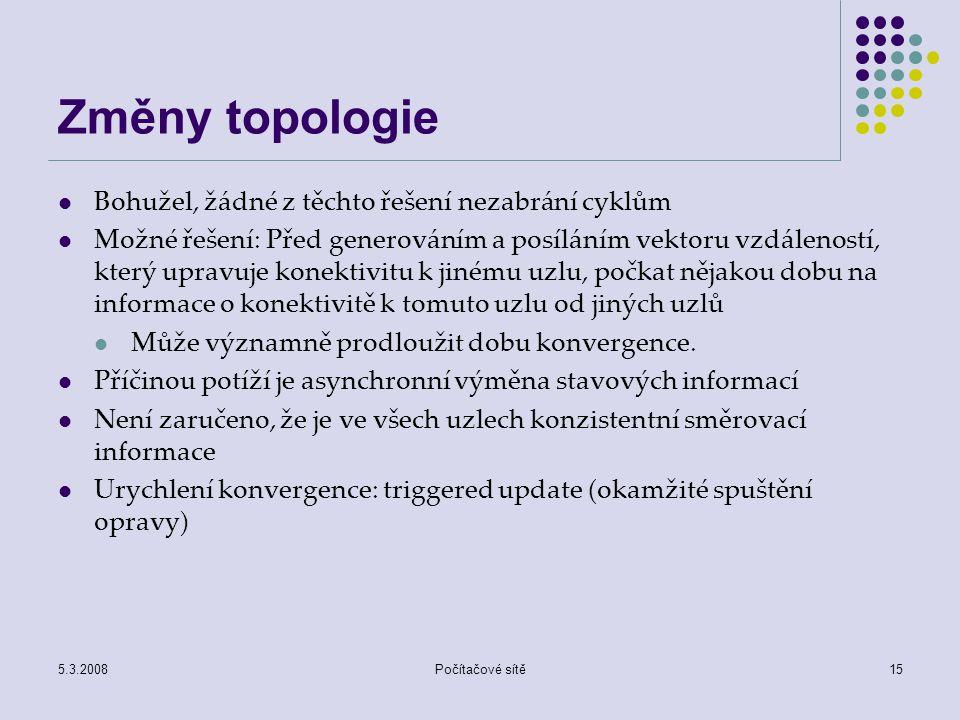 5.3.2008Počítačové sítě15 Změny topologie Bohužel, žádné z těchto řešení nezabrání cyklům Možné řešení: Před generováním a posíláním vektoru vzdálenos