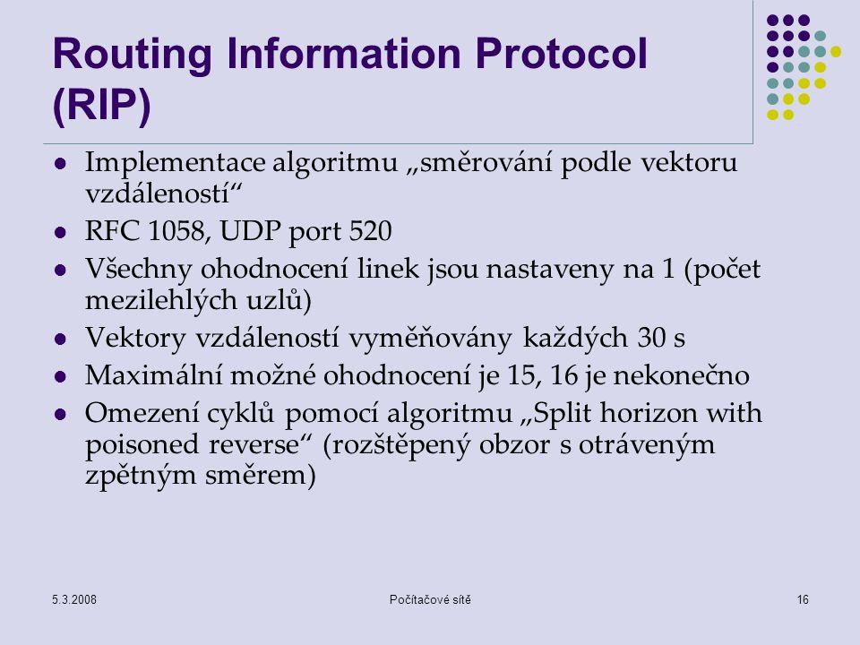 """5.3.2008Počítačové sítě16 Routing Information Protocol (RIP) Implementace algoritmu """"směrování podle vektoru vzdáleností"""" RFC 1058, UDP port 520 Všech"""
