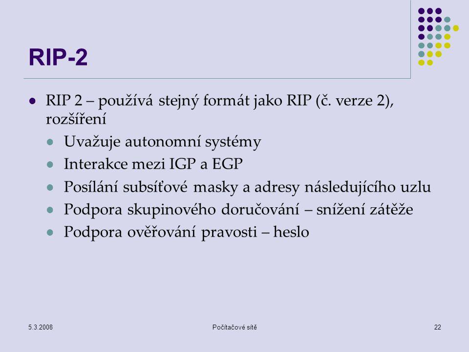 5.3.2008Počítačové sítě22 RIP-2 RIP 2 – používá stejný formát jako RIP (č. verze 2), rozšíření Uvažuje autonomní systémy Interakce mezi IGP a EGP Posí