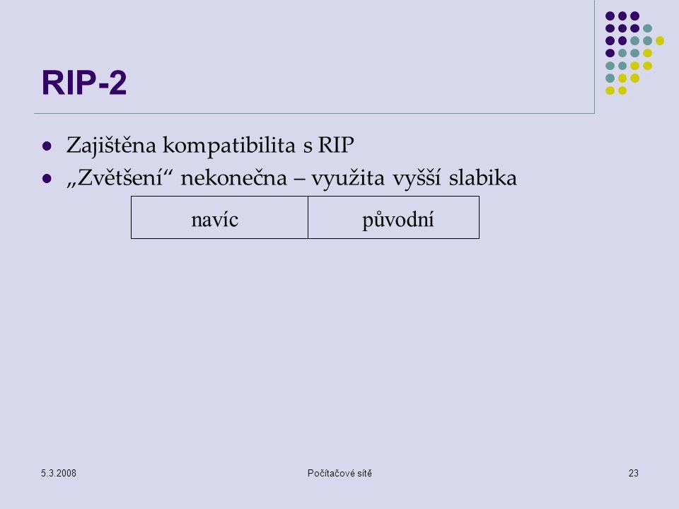 """5.3.2008Počítačové sítě23 RIP-2 Zajištěna kompatibilita s RIP """"Zvětšení"""" nekonečna – využita vyšší slabika navícpůvodní"""