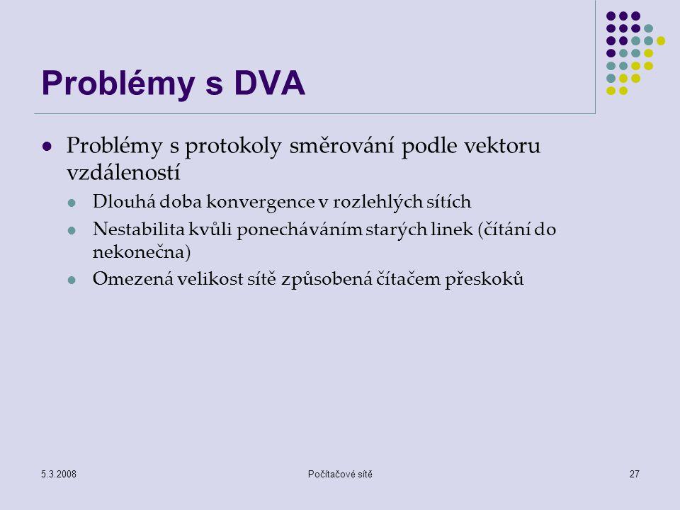 5.3.2008Počítačové sítě27 Problémy s DVA Problémy s protokoly směrování podle vektoru vzdáleností Dlouhá doba konvergence v rozlehlých sítích Nestabil