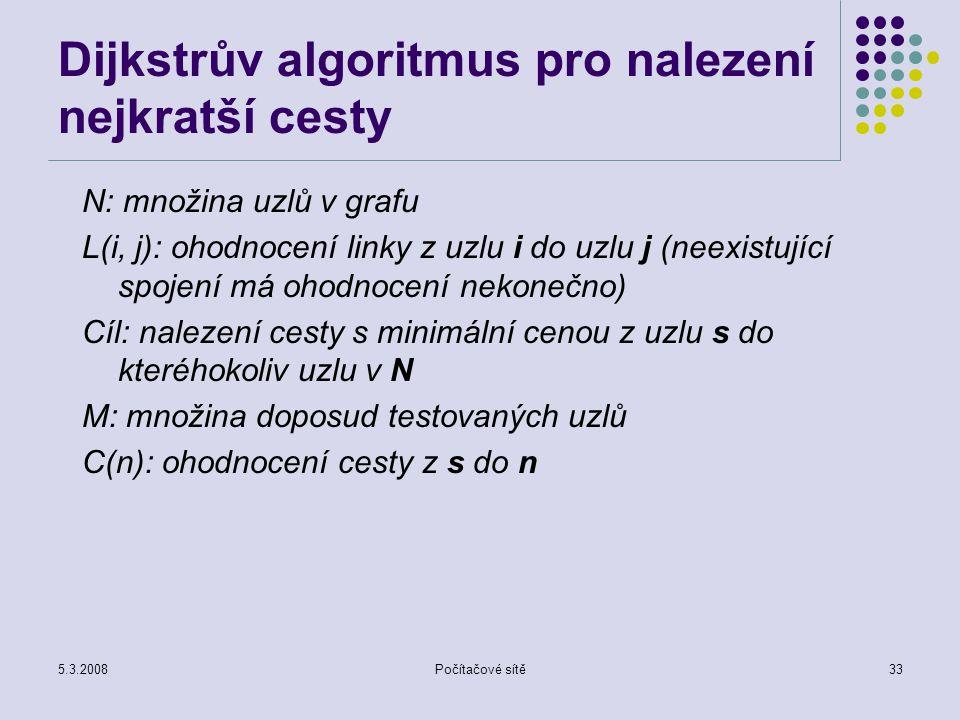 5.3.2008Počítačové sítě33 Dijkstrův algoritmus pro nalezení nejkratší cesty N: množina uzlů v grafu L(i, j): ohodnocení linky z uzlu i do uzlu j (neex