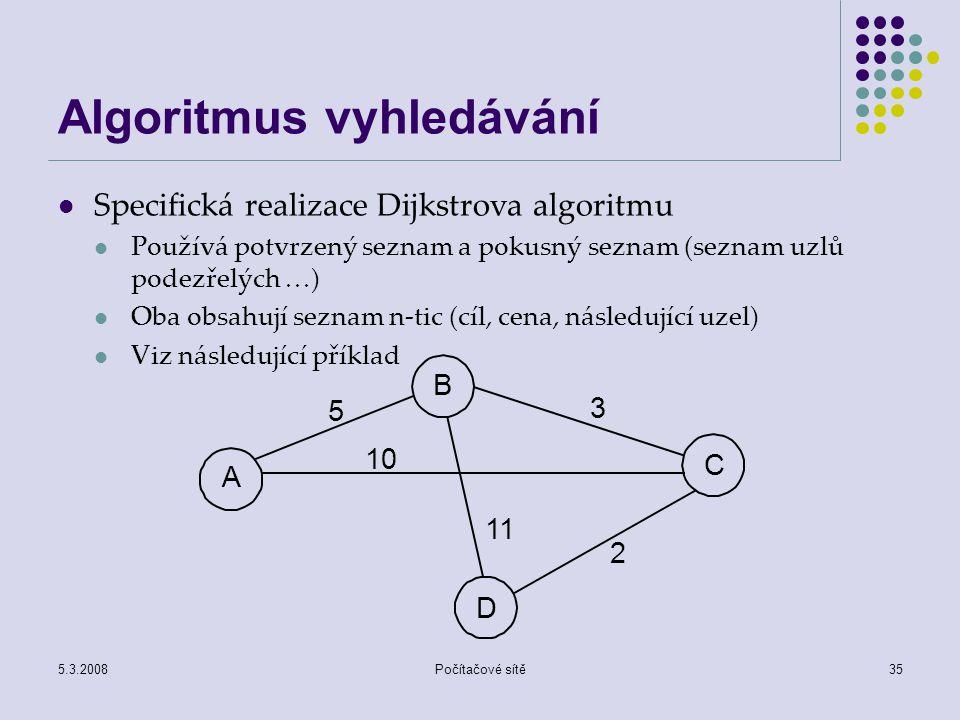 5.3.2008Počítačové sítě35 Algoritmus vyhledávání Specifická realizace Dijkstrova algoritmu Používá potvrzený seznam a pokusný seznam (seznam uzlů pode