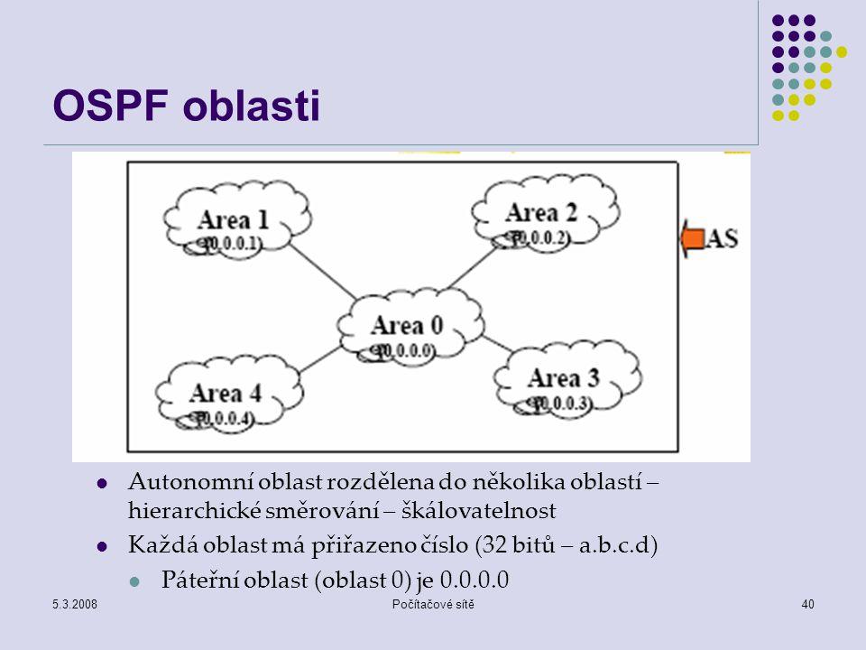 5.3.2008Počítačové sítě40 OSPF oblasti Autonomní oblast rozdělena do několika oblastí – hierarchické směrování – škálovatelnost Každá oblast má přiřaz