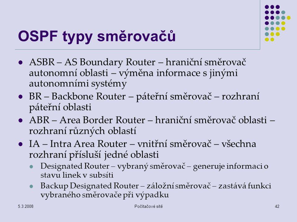 5.3.2008Počítačové sítě42 OSPF typy směrovačů ASBR – AS Boundary Router – hraniční směrovač autonomní oblasti – výměna informace s jinými autonomními