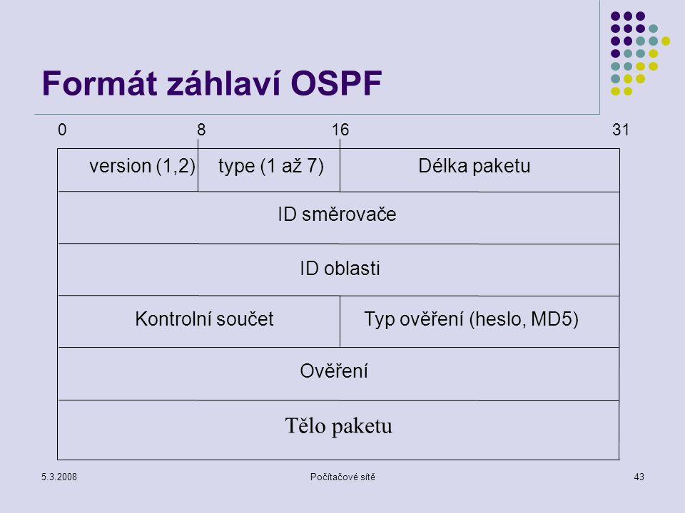 5.3.2008Počítačové sítě43 Formát záhlaví OSPF Ověření version (1,2)type (1 až 7)Délka paketu Kontrolní součetTyp ověření (heslo, MD5) ID směrovače ID