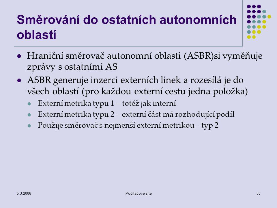 5.3.2008Počítačové sítě53 Směrování do ostatních autonomních oblastí Hraniční směrovač autonomní oblasti (ASBR)si vyměňuje zprávy s ostatními AS ASBR