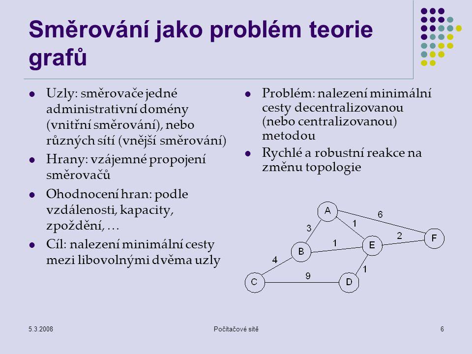 5.3.2008Počítačové sítě6 Směrování jako problém teorie grafů Uzly: směrovače jedné administrativní domény (vnitřní směrování), nebo různých sítí (vněj