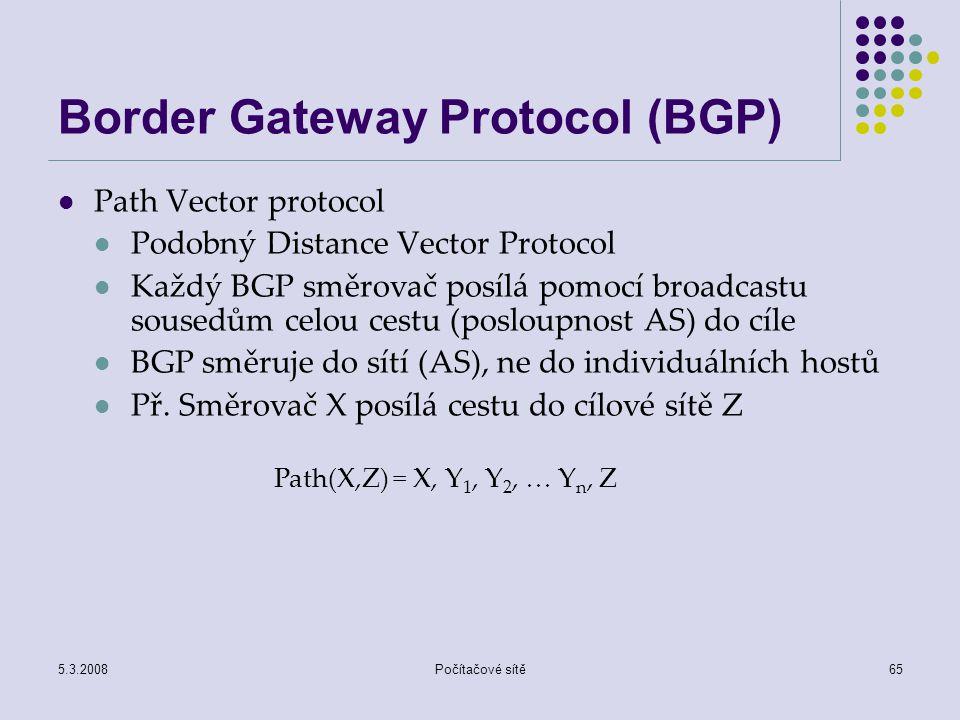 5.3.2008Počítačové sítě65 Border Gateway Protocol (BGP) Path Vector protocol Podobný Distance Vector Protocol Každý BGP směrovač posílá pomocí broadca