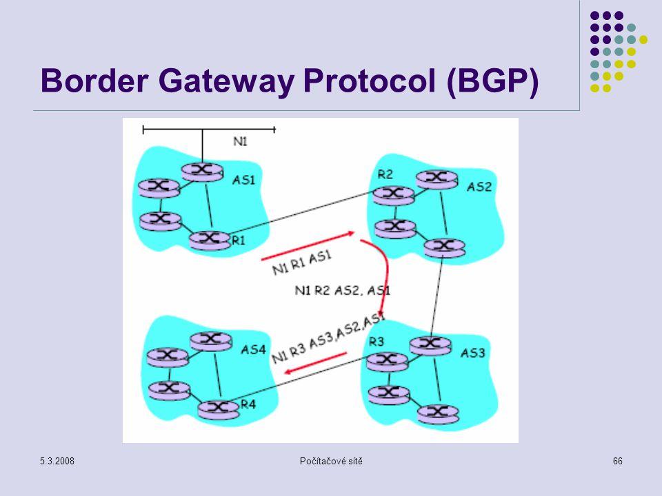 5.3.2008Počítačové sítě66 Border Gateway Protocol (BGP)