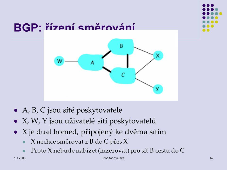 5.3.2008Počítačové sítě67 BGP: řízení směrování A, B, C jsou sítě poskytovatele X, W, Y jsou uživatelé sítí poskytovatelů X je dual homed, připojený k